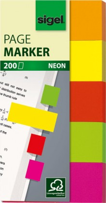 Haftmarker neon 20x50mm orange/gelb/rot/grün/rosa/bordeaux