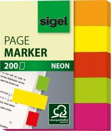 Haftmarker Neon 12x60mm 5 Farben im Pocket in orange, gelb,