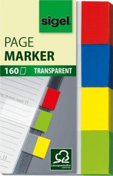 Haftmarker transparent 20x50mm 4 Farben rot/blau/gelb/grün