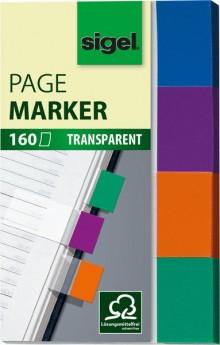 Haftmarker transparent 20x50mm 4 Farben mint/orange/violett/türkis