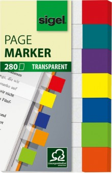 Haftmarker 50x12mm transparent mini, 7 Farben im Pocket