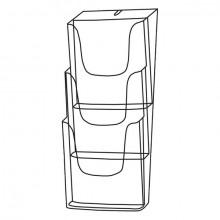 Sigel Wand-Prospekthalter 3 x A4 Acryl glasklar inkl. Schrauben u. Dübel