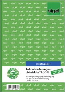 Lohnabrechnung Mini-Job, A5, 50 Blatt, mit Blaupapier