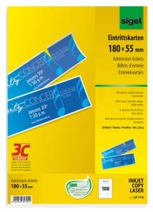 Eintrittskarten mit Abriss, hochweiß Edelkarton, 225g, 180x55 mm