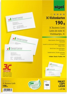 Sigel Visitenkarte Multiprint 190g weiss f. InkJet, Laser, Kopierer