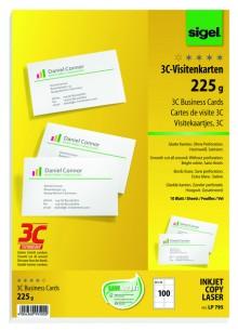 Sigel Visitenkarte 3C I+L+K 225g weiß glatter Schnitt rundum