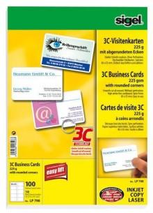 Sigel Visitenkarte Multiprint 225g weiss f. InkJet, Laser, Kopierer, 100Stk auf 10 Blatt