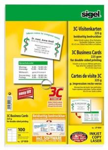 Sigel Visitenkarten 85x55mm, 225g, 3C, hochweiß Edelkarton, (I/L/K)