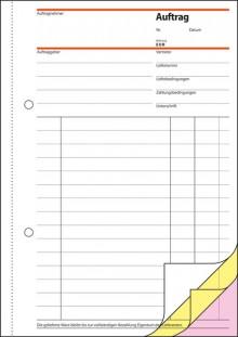 Auftrag A5 hoch 1.,2. und 3. Blatt bedruckbar, selbstdurchschreibend