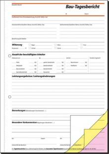 Bautagebuch A4 hoch 1.,2.u.3. Blatt bedruckt, selbstdurchschreibend