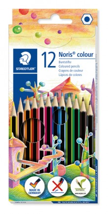 Farbstiftetui Noris colour hexagonal, 12er Papp-Etui, aus WOPEX Material,