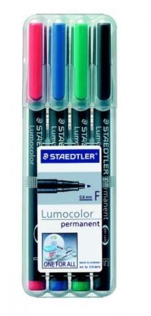 Folienschreiber 0,6mm perm. 4er Etui mit 4 Farben sort. nachfüllbar
