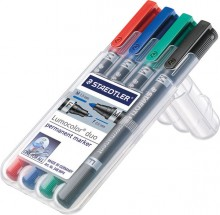 Lumocolor duo permanent Marker 4er Etui in rt,bl,gn und sw