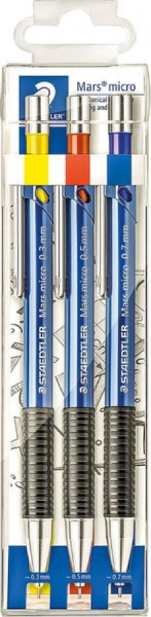 Druckbleistift Marsmicro 775, blau, 3er Etui, 0,3/0,5/0,7 mm