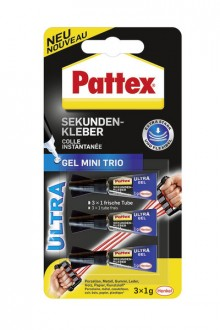 Sekundenkleber Pattex Ultra Gel Mini Trio, 3 x 1 g auf Blisterkarte