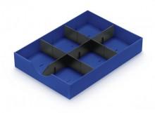 Styrodoc Systemschublade blau, 3 Stege (1 Längs-/ 2 Querstege)