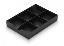 Styrodoc Systemschublade schwarz, 3 Stege (1 Längs-/ 2 Querstege)