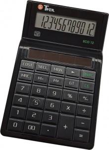 Tischrechner Eco 12, Solarbetrieb, schwarz, 12-stellig, vier Grund-