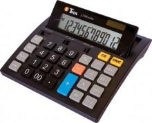 Tischrechner, anzeigend, 12-stellig Solar und Batterieb, schwarz