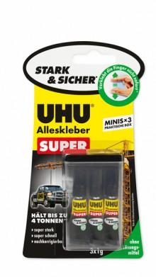 Alleskleber UHU Super Minis 3x1g super stark, super schnell