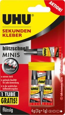 Sekundenkleber UHU Minis 3x1g Tuben Infokarte 3g