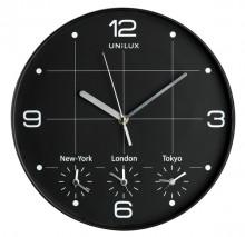 """Quarz-Wanduhr """"On Time"""", schwarz, Ø 30,5 cm, 4 verschiedene Zeitzonen"""