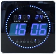 Wanduhr FLO, LED, schwarz 28x28cm Zeitanzeige über LED-Ziffern