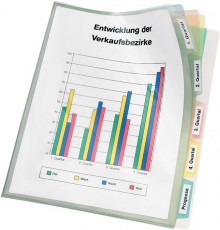 Registerhülle DIN A4 PP-Folie 5 blanko Taben, farbig unterteilt