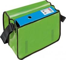 Umhängetasche für Briefordner, grün Überschlag mit Klettverschluss