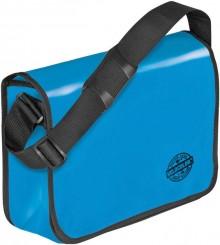 Umhängetasche für Briefordner, blau Überschlag mit Klettverschluss