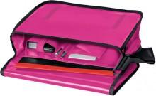 Umhängetasche für Briefordner, pink Überschlag mit Klettverschluss