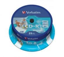 Rohling CD-R 80 Min. 700MB, 52-fach Inkjet printable in 25-er Spindel