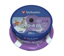 Rohling DVD+R Double Layer 8,5 GB, 8fach, Inkjet Printable,25er Spindel