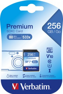 SDXC Speicherkarte, 256 GB, Premium Class 10, U1, R 45MB/s / W 10MB/s