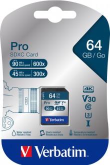 SDXC Speicherkarte, 64 GB, PRO Class 10, U3, UHS-I, 45MB/s 300x
