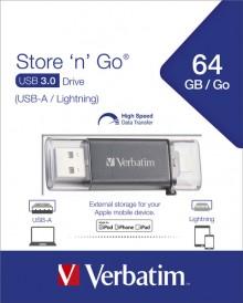Speicherstick USB 3.0, 64 GB Dual Lightning, Metallgehäuse, schwarz