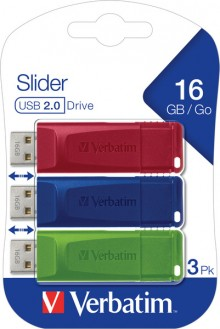 Speicherstick USB 2.0, 16 GB, StorenGo Slider, Multipack