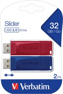 Speicherstick USB 2.0, 32 GB, StorenGo Slider, Multipack