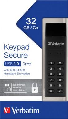 Speicherstick USB 3.0, 32 GB Keypad Secure, schwarz, AES 256-Bit,