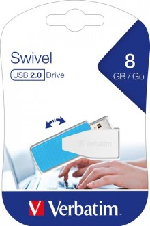 Speicherstick, USB 2.0, 8 GB, Swivel blau, Speed 67x