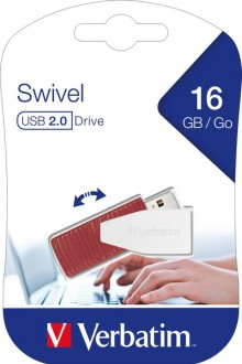 Speicherstick, USB 2.0, 16 GB, Swivel rot, Speed 67x