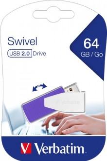 Speicherstick, USB 2.0, 64 GB, Swivel violett, Speed 67x