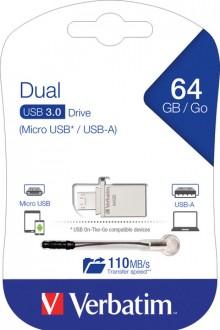 Speicherstick USB 3.0, 64 GB, OTG, Dual Metal Micro, silber