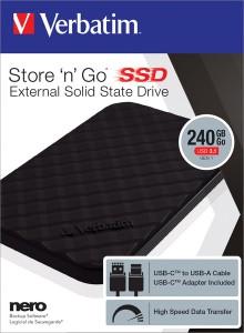 "Festplatte Solid State Drive 240GB 2,5"", USB 3.1 R 400MB/s, W 390Mb/s"