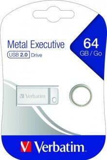 Speicherstick USB 2.0, 64 GB, Metal Executive, silber, 2.5MB/s 17x