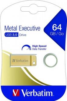 Speicherstick USB 3.0, 64 GB, Metal Executive, gold, 2.5MB/s 17x