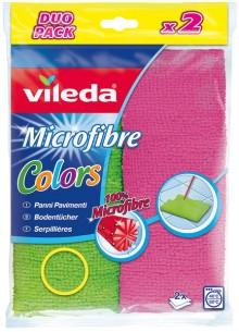 Vileda Mikrofaser Bodentuch, Colors, 2 Stück, Farben pink und grün