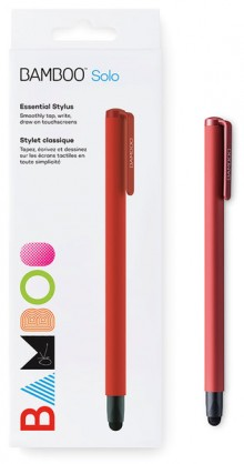 Bamboo Stylus solo4 rot, Carbon- faser-Spitze, dreieckiges Design