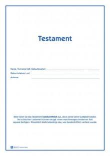 Testament A4 Vordruckset zur Erstellung eines Testament