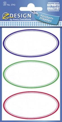 Haushaltsetikett HOM oval bunt 3 Bogen
